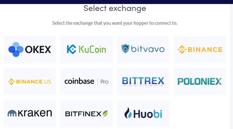 officially supported crypto exchanges
