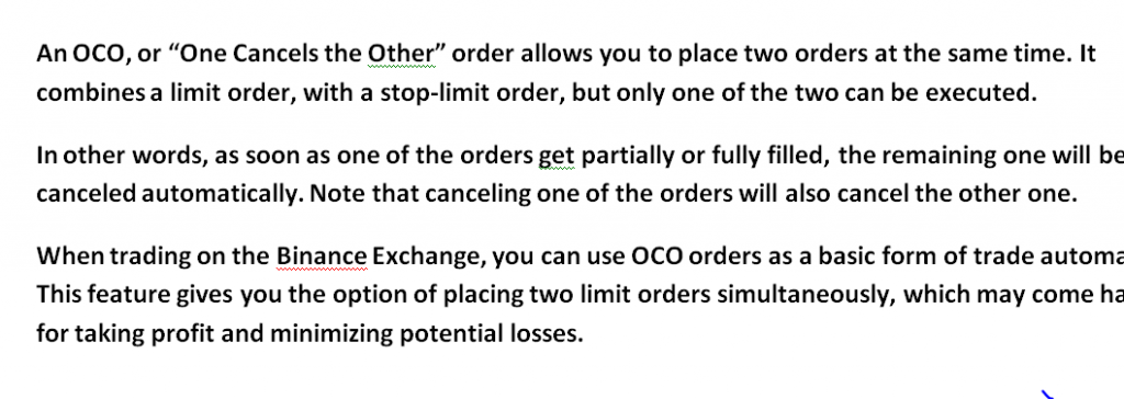 binance oco order