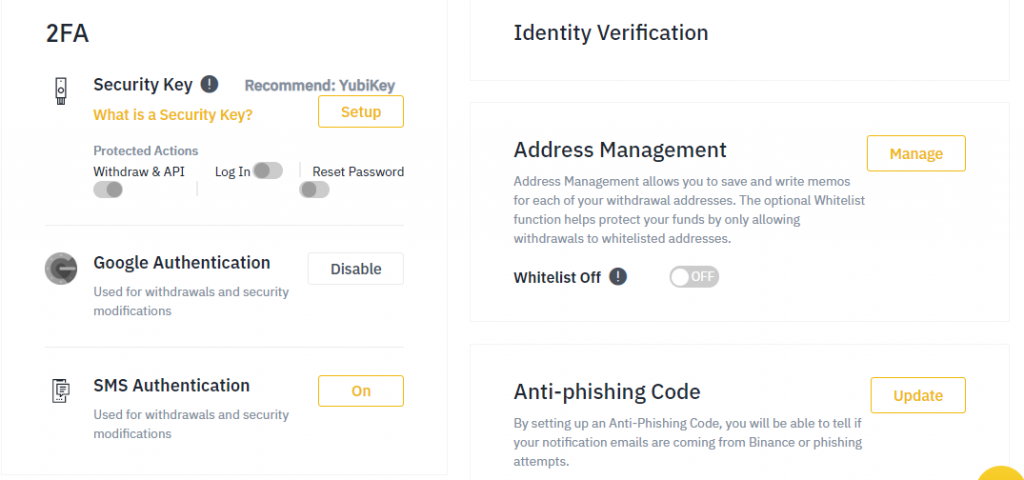 Binance exchange security two-factor authentication