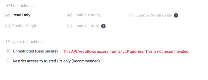 Binance API Key restriction