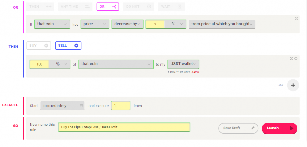 setting up coinrule trading rule