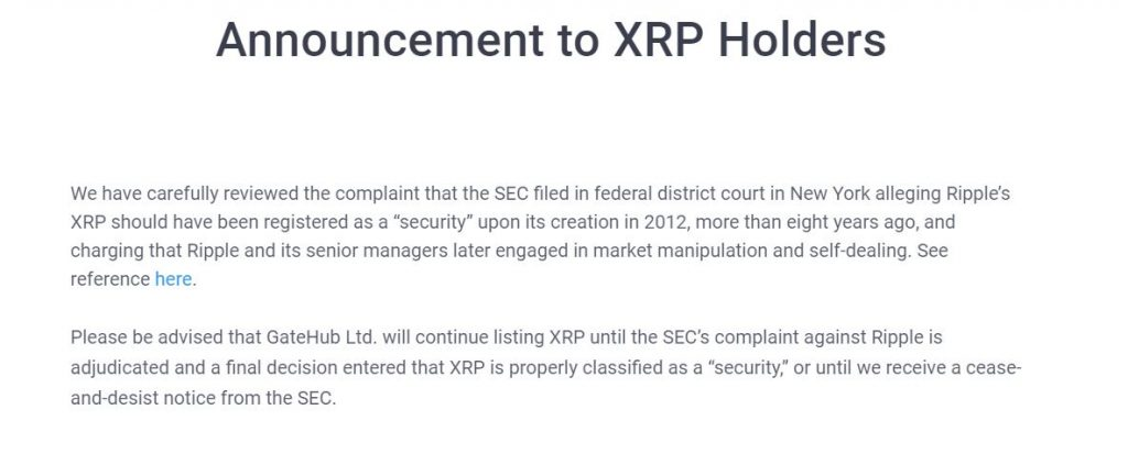 Gatehub Will Continue Listing XRP